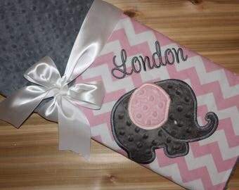 Elephant- Personalized Minky Baby Blanket - Grey Minky with Pink Chevron