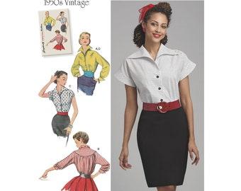8445, Simplicity, Women's, 1950's Blouses, Cumberbund Vintage Style, Retro Pattern Reprint Pattern Vintage Fashion, 50's Style, 50's Fashion