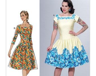 6484, Butterick, day Dress, Vintage Style, Dropped Waist, Patterns by Gertie, Rockabilly Dress, Square neckline, Flared Dress, Ruffled Dress