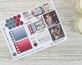 Dunkle Blumen Mini glücklich Planner Kit; Wöchentliche Kit; TN-Kit; Sticker; Kugel-Journal; Mambi; Mini Kit ist; Valentines Aufkleber; Feb-Kit
