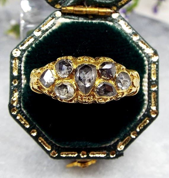 Antique Georgian 18ct Gold Water Lily Frogs Rose Cut Diamond Cluster Ring / Size M 1/2