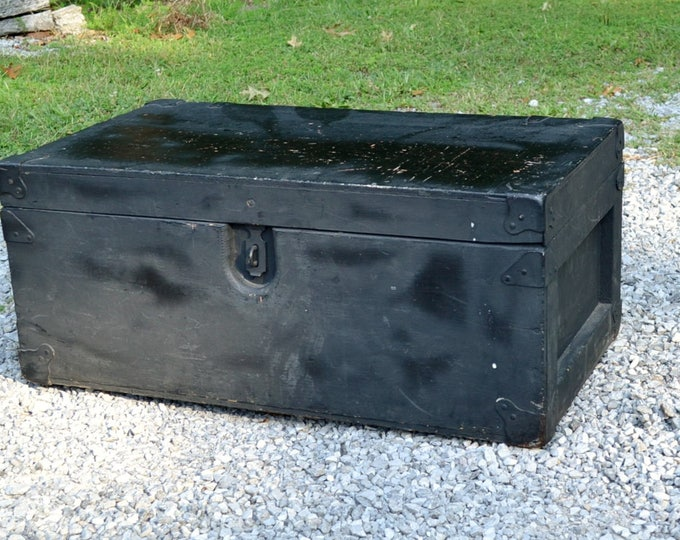 Vintage Wooden Trunk Black Painted Furniture Coffee Table Storage Military Foot Locker Strongbox Chest PanchosPorch
