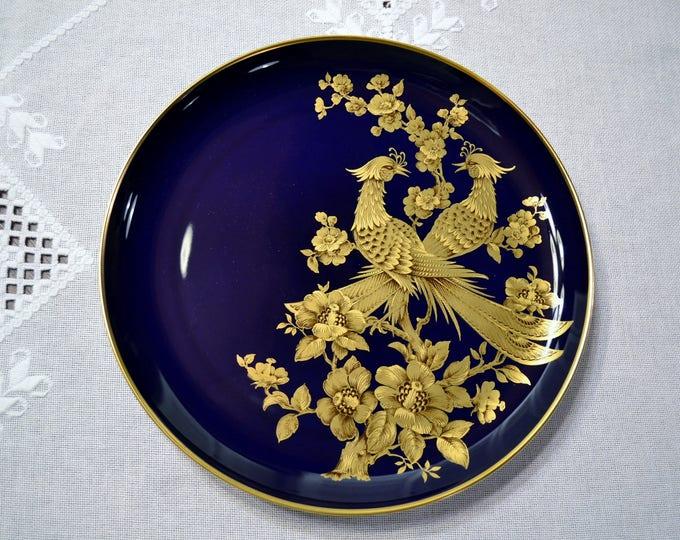 Vintage Kaiser Symphonie Plate Cobalt Blue Gold Pheasants Flowers Karl Nossek West Germany PanchosPorch