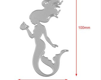 Mermaid Shape Metal Cutting Die/Sizzix/Cuttlebug/Metal Die/Paper Cutting Die/Scrapbooking/Die Cut/Sea Life/Summer/Ariel/Little Mermaid