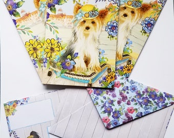 4 Piece Dog Note Cards/Yorkie/Blank Note Cards by Punch Studio/Greeting Card/Dog Lover/Garden/Purple and Yellow