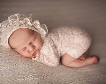 Lace Romper, Newborn Lace Outfit, Newborn Photo Prop, Newborn Prop, Hooded Overall, Baby Girl Romper, Baby Props, Newborn Overall, code 050