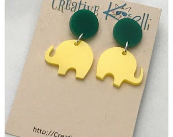 Acrylic Earrings, Elephant, Yellow, Green