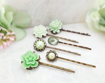 Green Bobby Pin Set ~ Crystal Hairpins ~ Decorative Hair Pins ~ Green Floral Hairpieces ~ Hair Accessories Pearl ~ Vintage Bobby Pins H4021