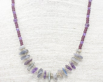 Purple Amethyst and Labradorite Necklace, Boho Necklace, with Small Beads and Gemstone Chips, Light Jewelry, Layering Necklace