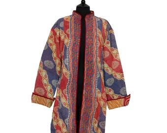 KANTHA JACKET - XXX Large - Long style - Size 20/22 - Deep Coral and Blue. Reverse Red, Orange and Green