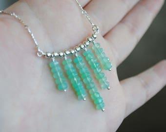 Sterling Silver Chrysoprase Necklace, Chrysoprase Jewelry, Chrysoprase Chalcedony