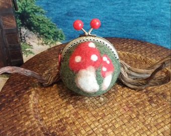 Coin Purse, Felted Wool Purse, Toadstool Design, Functional Art, Unique Gift