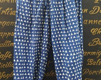 Sale-Casual Smart Ibiza Pants Beach Lounge Pants  made In  Cotton with  Blue Geometric  Block PRINT with pockets