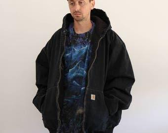 Canvas Carhartt Black Hoodie Jacket Mens 2XL