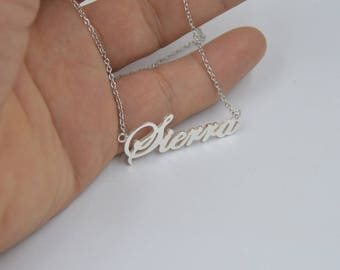 Silver name necklace-custom Christmas necklace-any name jewlery-custom name gift for lovers,Kids