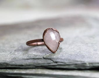 Rose Quartz Ring Electroformed Copper Ring Stone Ring Polished Stone Teardrop Shape Natural Stone Delicate Pink Ring