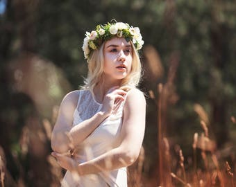 SALE Ivory and Green Wedding Flower Hair Crown, with Ivory Hellebores, Roses and Ranunculus, and Apple Blossoms, Berries and Babies Breath