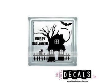 HAPPY HALLOWEEN - Haunted House - Halloween Vinyl Lettering for Glass Blocks - Craft Decals