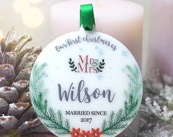 Personalized Our First Christmas Ornament Mr and Mrs Ornament Just Married Ornament Custom Ornaments Christmas Gift #025