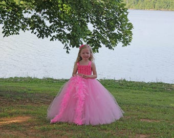 Pink feathers princess birthday party outfit, Marvelous princess tutu dress size nb to 12years