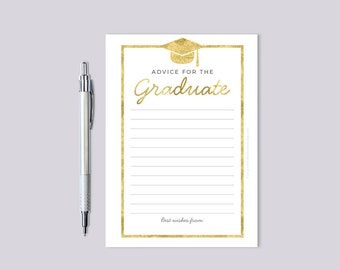 Graduation Advice Card Gold Faux Foil Card, Printable Instant Download, High School College Graduate, Tassel Hassle Class of 2017 Wishes