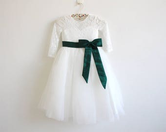 Light Ivory Flower Girl Dress Forest Green Long Sleeves Lace Tulle Flower Girl Dress With Forest Green Sash/Bows