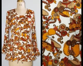 Penny Lane | 1960s/1970s boho top with flare sleeves | 60s/70s flared tunic top