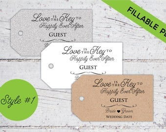 Love Is The Key To Happily Ever After   Style 1   Fillable PDF   DIY Wedding Guest Seating Tags   Favor Tags   Digital Download   Printable