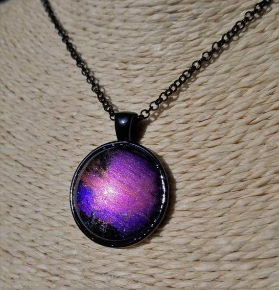 Purple Solar Flare Pendant on a black chain (Choose your own length)