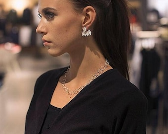 Girlfriend Gifts, Ear jacket, Wife Gifts, Double sided earrings, Ear Jacket Earring, Silver Ear Jacket, Leaf Ear Jacket Earring