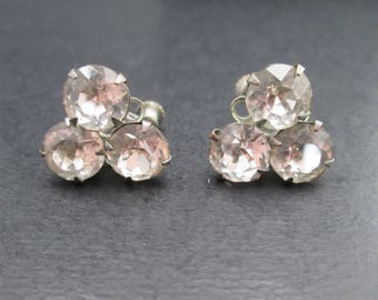Vintage Faux Diamond Rhinestone Silver Tn Cluster Earrings with Screw Back Closures