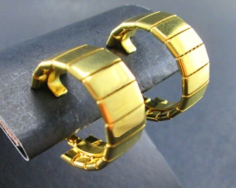 Vintage Napier Gold Tn Segmented Hoop Earrings Screw Clip Back Signed 60s