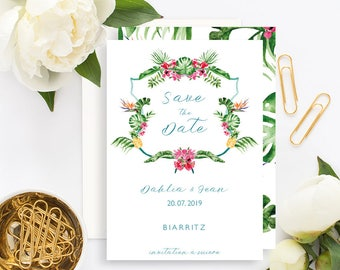 Tropical Wedding Save the Date with white envelope - Wedding Save the Date - Tropical Wedding Invitation - Pineapple Tropical Leaves Exotic