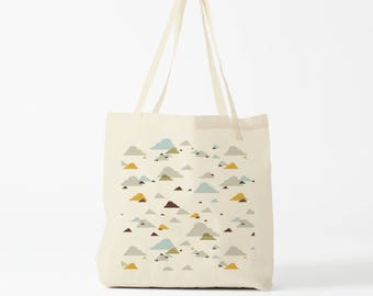 Tote Bag, Winter Clouds, Cotton bag, shopper bag, groceries bag, reusable fabric tote, school bag, novelty gift, gift coworker, gift mother.