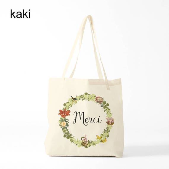 Merci, Tote bag, kaki version, Cotton bag, sports bag, yoga bag, baby bag, groceries bag, novelty gift, canvas bag, gift coworker