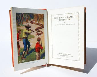Swiss Family Robinson Vintage red 1930s Hardback Old book Fiction Travel adventure Blue