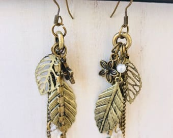 Bronze Flower/Leaf Cluster Rhinestone Dangle Earrings