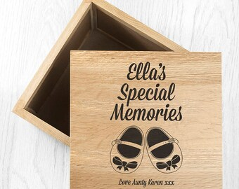 Baby Shoes Girls Design - Large Keepsake Box - Photo Cube - Photo Keepsake - New Baby Gift - First Biirthday Gift - Newborn-FREE UK DELIVERY