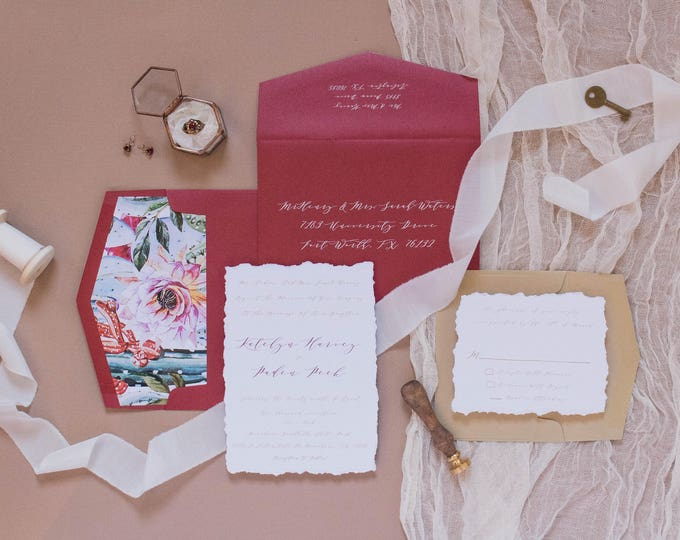 Calligraphy Style Romantic Red and Gold Wedding Invitation, Includes Desert Inspired Envelope Liner & RSVP