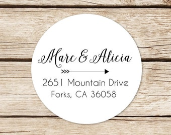 Custom Name Stickers, Return Address Labels Stickers, Wedding Address Labels, Round Address Stickers