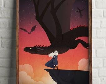 Daenerys Targaryen art print (Khaleesi and Drogon)