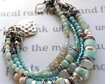 bracelet, amazonite bracelet, chalcedony bracelet, rainbow moonstone bracelet, bohemian bracelet, boho chic bracelet, blue bracelet, for her