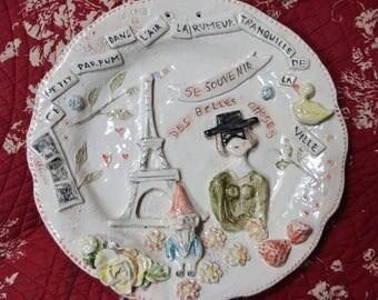 """Assiette faïence décoration murale inspiration  """"Amélie Poulain"""""""