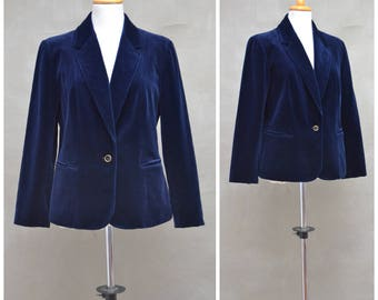 "Vintage blazer, Ladies 70s/80s blue velvet jacket, Tailored suit style jacket, single breasted smoking jacket, Bust 40""/102cm,Day to Evening"