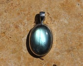 Small Oval Deep Blue-green Labradorite Pendant Bezel Set In Solid Sterling Silver, Hand Selected Stone,  FOS94