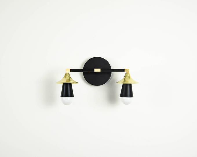 Matte Black and Brass Gold 2 Light Wall Bathroom Sconce Trumpet Cone Covers Vanity Modern Mid Century Industrial UL Listed