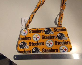 Slim crossbody bag purse made with Pittsburgh Steelers licensed fabric Steelers gift Pittsburgh gift gifts under 25 Handmade handcrafted