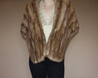 Gorgeous Blonde Mix MINK Fur Stole Capelet