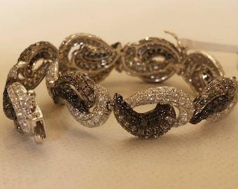18 K white gold multi color diamond bracelet