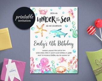 Under the sea Birthday Invitation Printable, Under The Sea Invitation, Beach First Birthday Invitation Summer Girl Birthday Invitation tranq